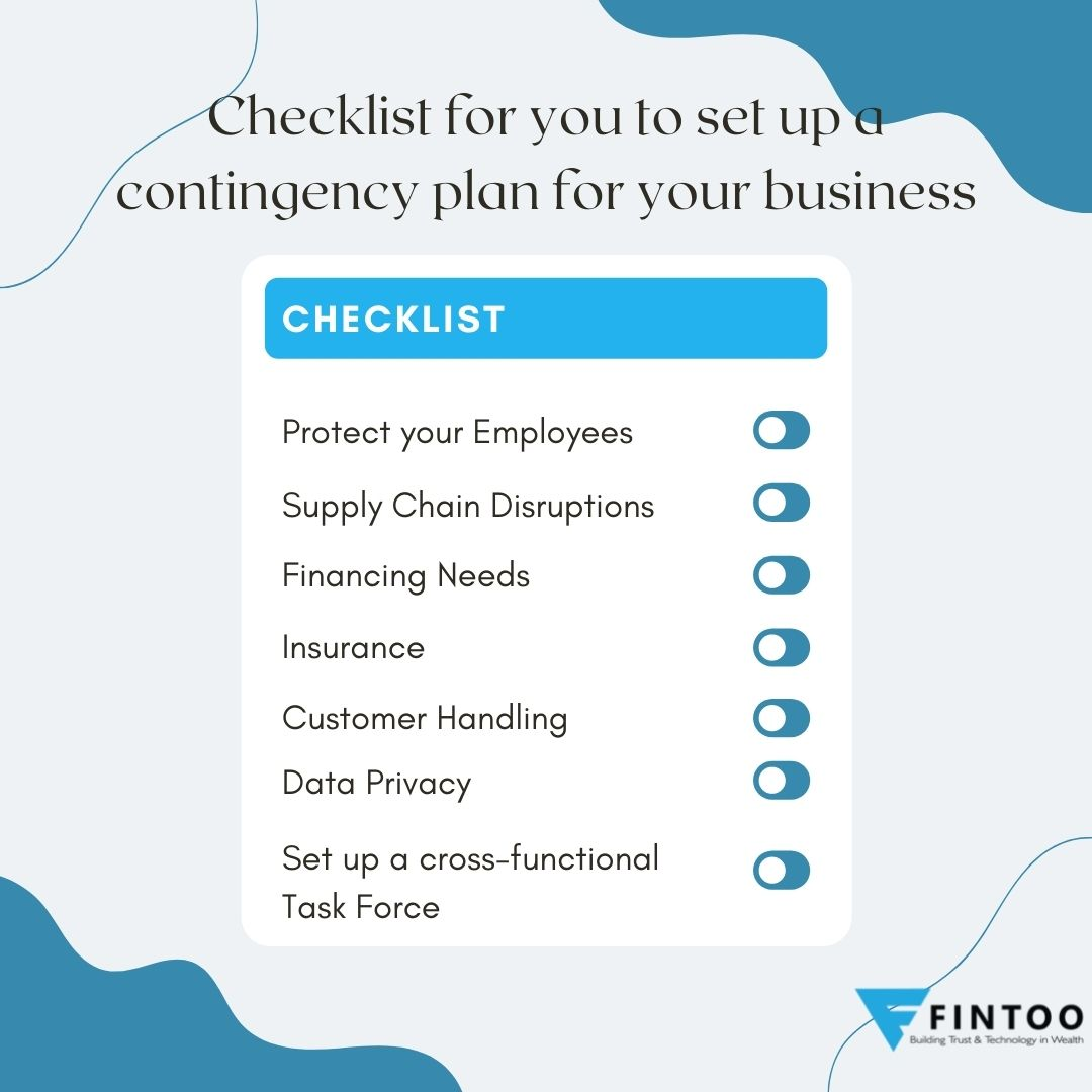 Checklist for you to set up a contingency plan for your business