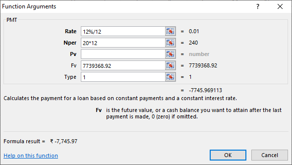 Calculating monthly SIP premium